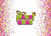 Comics Text Mask Isolated. Colored Shimmer Random Falling. Mardi Gras - Fat Tuesday Carnival Carniva poster