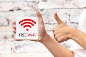 Free Wifi Sign Symbol Illustration Thumbs Up For Good Best And Safe Service Internet Access. poster