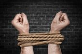 Two Bound Strong Male Arms Struggling To Break A Strong Natural Rope On A Black Brick Background. poster