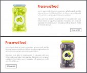 Preserved Food Kept In Glass Jars Marked With Tags And Labels With Olive Image. Set Of Posters And C poster