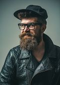 Brutal Caucasian Hipster With Moustache. Bearded Man. Male Barber Care. Mature Hipster With Beard. H poster