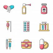Remedy Icons Set. Cartoon Set Of 9 Remedy Icons For Web Isolated On White Background poster