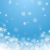 Holiday Winter Background For Merry Christmas And Happy New Year. Falling White Snowflakes On Blue B poster