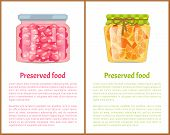 Preserved Food Poster Currant Berry Jam And Conserved Orange Citrus Fruit In Unlabeled Caddy. Glass  poster