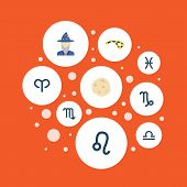 Set Of Astrology Icons Flat Style Symbols With Astrologer, Pisces, Constellation And Other Icons For poster
