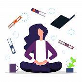 Office Meditation. Concentration At Workspace Vector Illustration. Businesswoman Meditation On Work poster