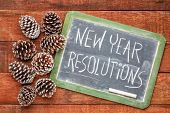 new year resolutions  - white chalk handwriting on a slate blackboard with frosty pine cones against poster