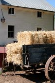 pic of hayride  - View of an old wagon stacked with hay - JPG
