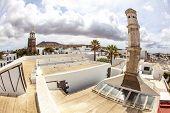 picture of senora  - Teguise Lanzarote Canary Island view over historic village to Church Iglesia de Nuestra Senora de Guadalupe - JPG
