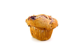 picture of doughy  - sweet fruit muffin on white background - JPG