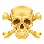 stock photo of gold tooth  - Gold Skull and Crossbones - JPG