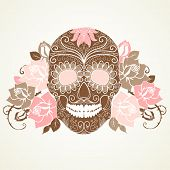 foto of day dead skull  - Skull and roses - JPG
