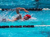 pic of swim meet  - Freestyle swim heat with fast youth swimmer - JPG