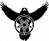 foto of wiccan  - Vector illustration of a crow or raven with a pentagram a five pointed star - JPG