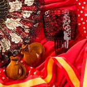picture of castanets  - castanets fan and flamenco comb typical from Spain Espana elements - JPG