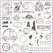 Vector set - vintage hand drawn postage stamps
