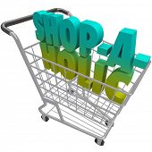 The word Shop-a-Holic in a shopping cart to illustrate an addiction to buying things and spending mo