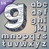 Sketch alphabet. Vector illustration of hand drawing font. Sans lower case letters