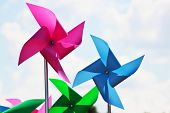 image of spinner  - A pink and a blue wind spinners - JPG