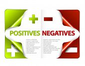 image of disadvantage  - Vector template for positives and negatives - JPG