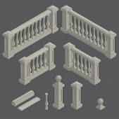 picture of balustrade  - set of isometric architectural element balustrade - JPG