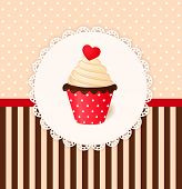 image of recipe card  - Vintage vector invitation card with heart on cream cake - JPG