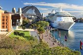 Sydney Circular Quay and Luxury Cruise Ship