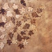 image of stippling  - A design of leaves on a background of stippled and Brown - JPG