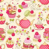 Holiday seamless pattern with macaroon, cupcakes, berries, tea, flower, and birds.