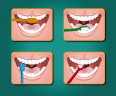 picture of toothpaste  - four steps to clean the teeth with toothpaste and toothbrush - JPG