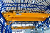 pic of girder  - Yellow factory double girder overhead crane in plant - JPG
