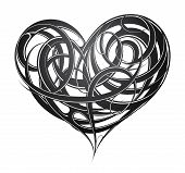 stock photo of cult  - St Valentines related design including decorative heart tattoo - JPG