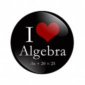 I Love Algebra Button