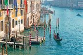 pic of gondolier  - gondolier by Franchetti Palace in Venice Italy - JPG
