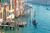 stock photo of gondolier  - gondolier by Franchetti Palace in Venice Italy - JPG