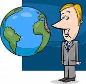 picture of lobbyist  - Concept Cartoon Illustration of Businessman Biting the Earth or Overexploitation Economy Metaphor - JPG