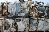 stock photo of ferrous metal  - Crushed and broken washing machines for metal recycling - JPG