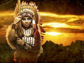 picture of spears  - a warrior Native American woman with a spear - JPG
