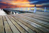 stock photo of sea-scape  - wood piers and pavillion sea scene with dusky sky use for natural background backdrop - JPG