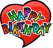 image of happy birthday  - Happy birthday Graffity on Heart with Love - JPG