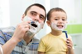picture of shaving  - preschooler attempting to shave like his dad - JPG