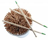 stock photo of flavor  - Plastic jar Mint Flavored Toothpicks Isolated on White Background - JPG