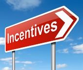 picture of enticing  - Illustration depicting a road sign with an incentives concept - JPG