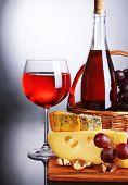 stock photo of brie cheese  - Pink wine - JPG