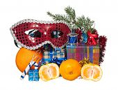 pic of tangerine-tree  - Christmas gifts and fir - JPG