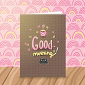 Good morning illustration with coffee and cat. poster