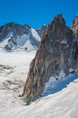 stock photo of crevasse  - Massif de mont Blanc on the border of France and Italy - JPG