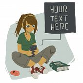 stock photo of post-teen  - The vector illustration of young girl writing message on her mobile phone for games - JPG