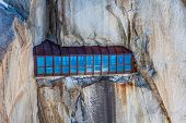 foto of crevasse  - View of the rock of Aiguille du Midi mont - JPG