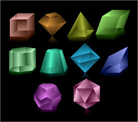picture of dodecahedron  - Different color glass figures on balack background - JPG